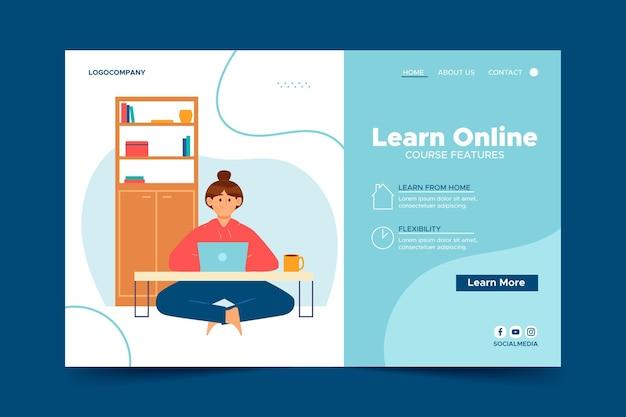 Шаблон целевой страницы для онлайн-уроков Бесплатные векторы