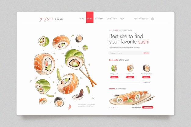 Шаблон целевой страницы для суши-бистро Бесплатные векторы