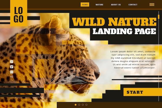 치타와 야생의 자연에 대한 방문 페이지 템플릿 무료 벡터