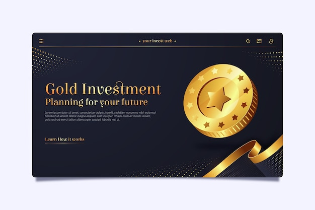 Landing page template for gold investment Free Vector