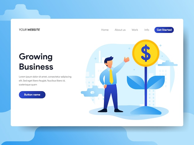 Landing page template of growing business concept Premium Vector