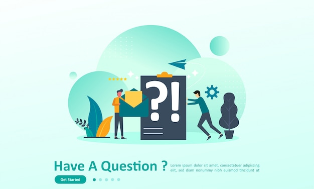 Landing page template of have a questions with character Premium Vector