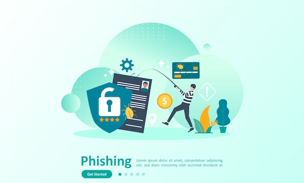Landing page template of internet security with character Premium Vector