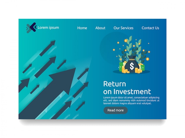 Landing page template for investment business concept Premium Vector