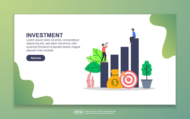 Landing page template of investment Premium Vector