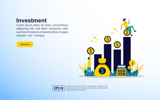 Landing page template. investment Premium Vector