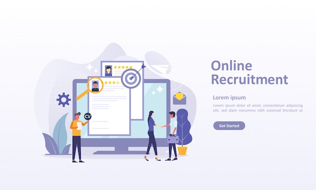 Landing page template of job hiring with character Premium Vector