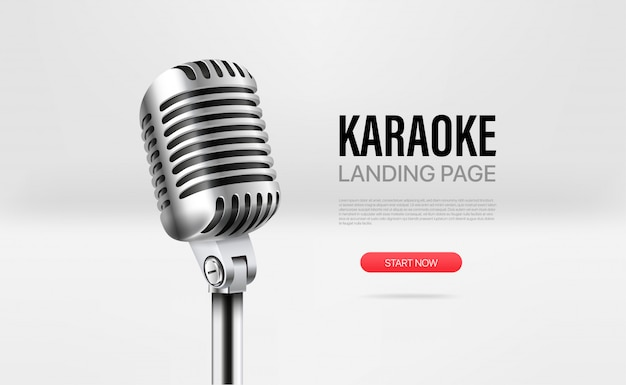 Landing page template karaoke Premium Vector