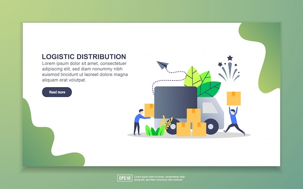 Landing page template of logistic distribution Premium Vector