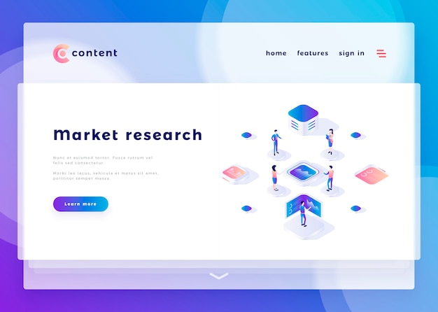 Landing page template for market research office people and interact with computers vector illustration Premium Vector