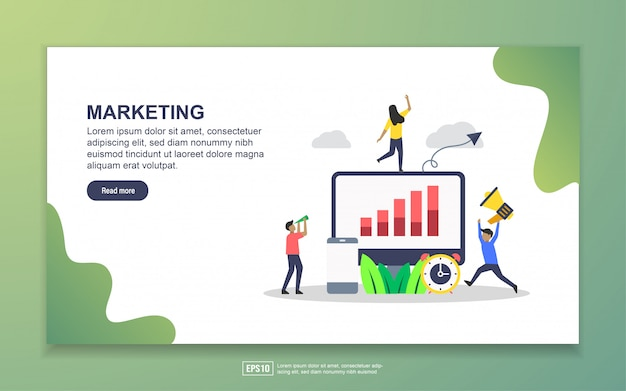 Landing page template of marketing. modern flat design concept of web page design for website and mobile website Premium Vector