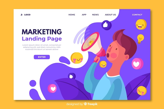 Landing page template for marketing Free Vector