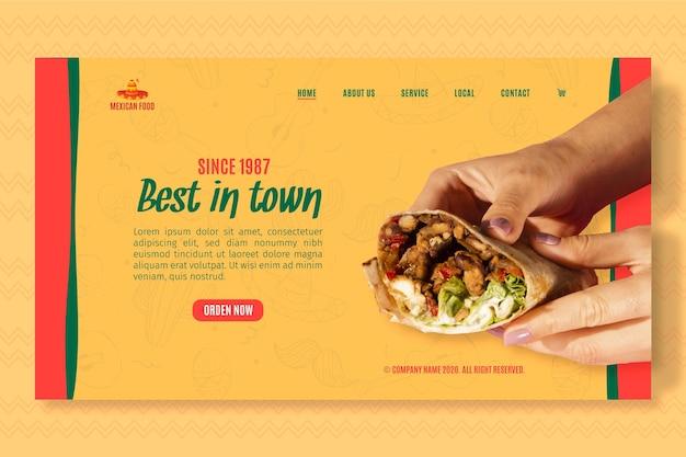 Modello di pagina di destinazione per ristorante di cucina messicana Vettore gratuito