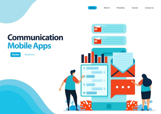 Landing page template of mobile apps for communication and sending messages. chat apps with smartfone. communication development technology. Premium Vector