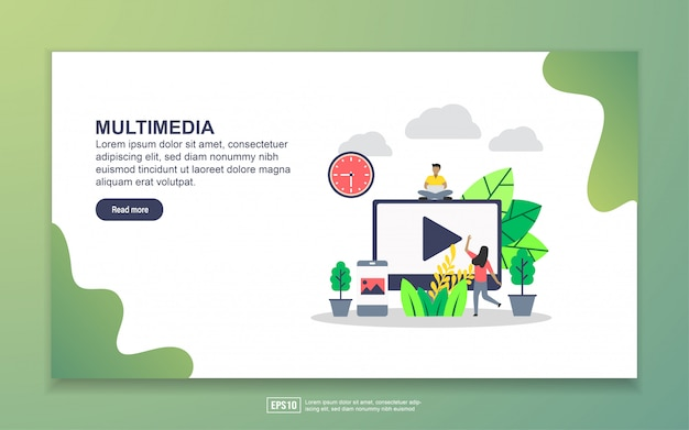 Landing page template of multimedia. modern flat design concept of web page design for website and mobile website Premium Vector