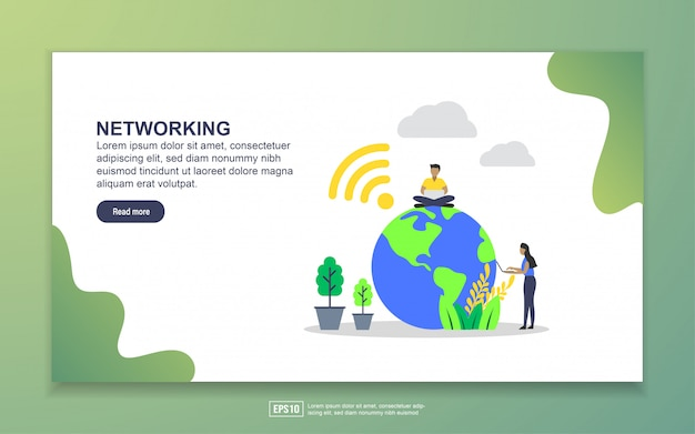 Landing page template of networking. modern flat design concept of web page design for website and mobile website Premium Vector