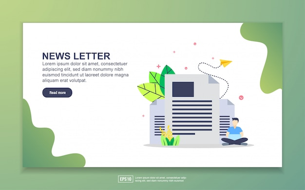 Landing page template of newsletter. modern flat design concept of web page design for website and mobile website. Premium Vector