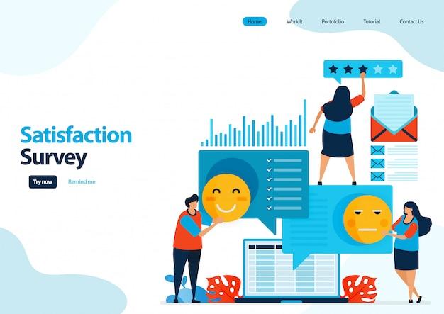 이모티콘 만족도 조사의 방문 페이지 템플릿 앱 서비스에 대한 피드백 등급 및 별표. 프리미엄 벡터