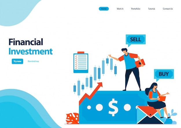 株式および債券への金融投資のランディングページテンプレート。投資を節約し、資本を増やすための高金利預金。 Premiumベクター