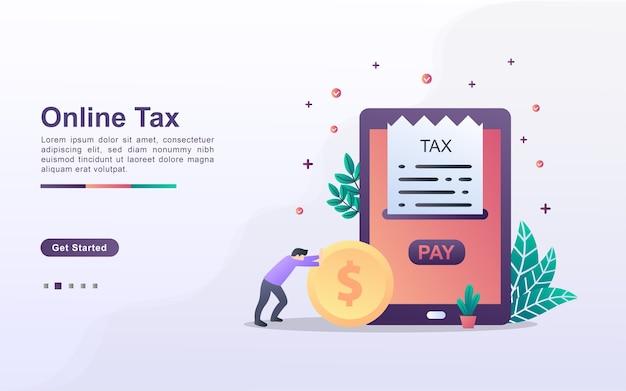 Шаблон целевой страницы онлайн-налога Premium векторы
