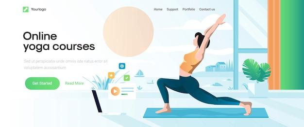Шаблон целевой страницы онлайн-курса йоги Premium векторы