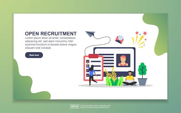 Open recruitmentのランディングページテンプレート Premiumベクター
