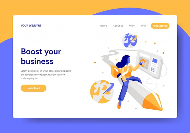 Landing page template of Startup Business Concept Premium Vector
