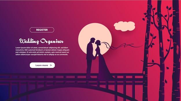 結婚式の主催者のランディングページテンプレート。 webサイトやモバイルサイトのwebページデザインのモダンなフラットデザインコンセプト。 Premiumベクター