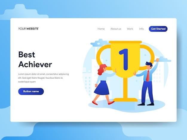 Landing page template of office best achievement Premium Vector
