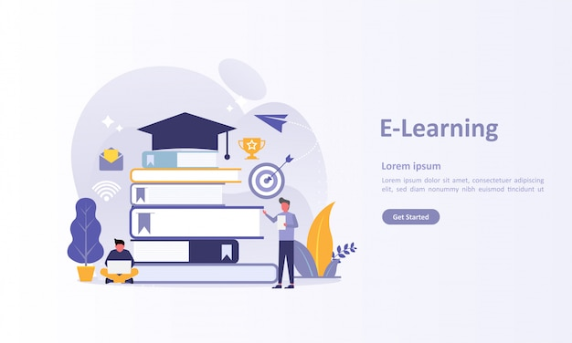 Landing page template of online education Premium Vector