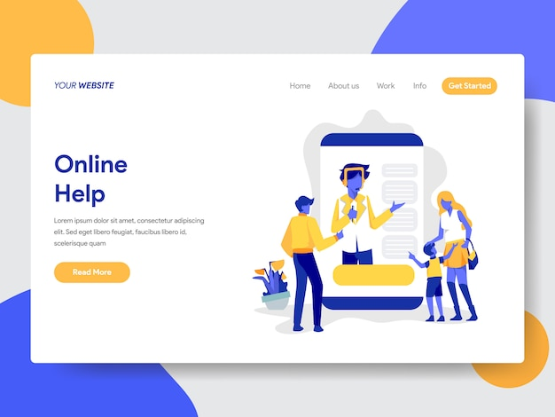 Landing page template of online help illustration Premium Vector
