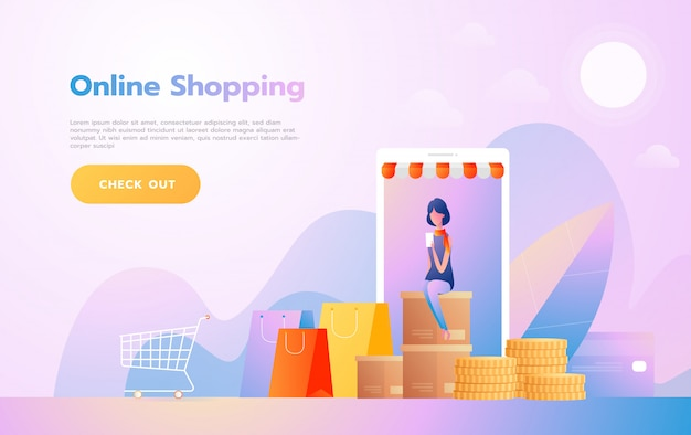 Landing page template of online shopping. modern flat design concept of web page design for website and mobile website. vector illustration Premium Vector