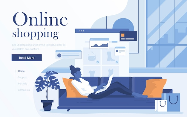 Landing page template of online shopping. young woman with laptop lying on sofa in living room and shop online.     of web page  for website and mobile website. Premium Vector