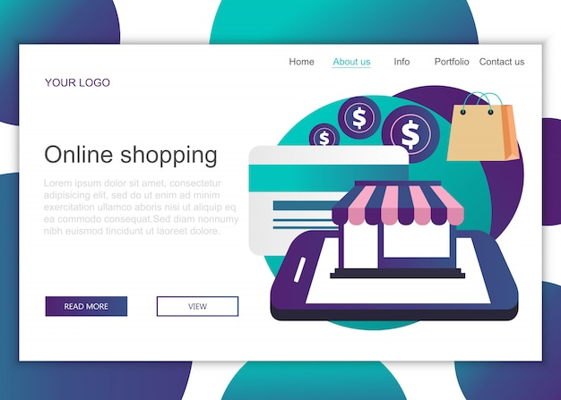 Landing page template of online shopping Premium Vector