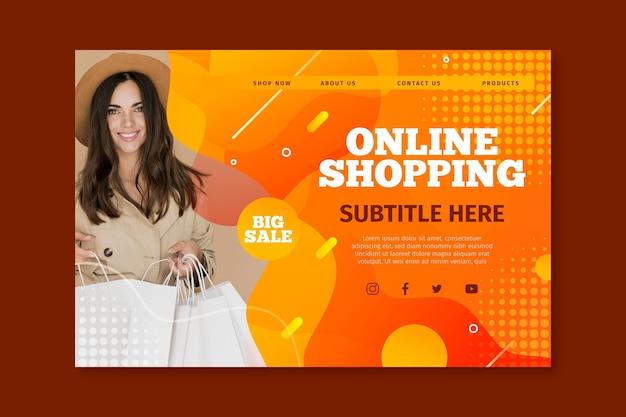 Modello di pagina di destinazione per lo shopping online Vettore gratuito