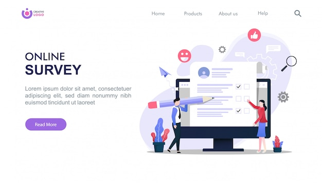 Landing page template of online survey concept with characters illustration. Premium Vector