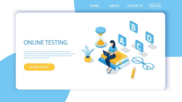 Landing page template for online testing Premium Vector