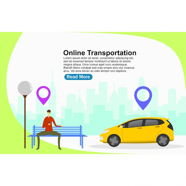 Landing page template online transportation Premium Vector