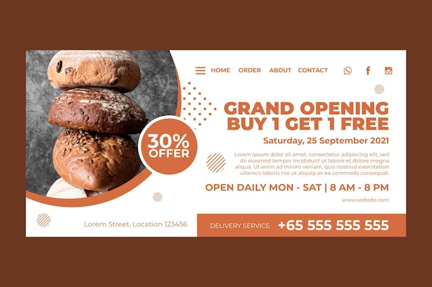 Landing page template for pastry shop Free Vector