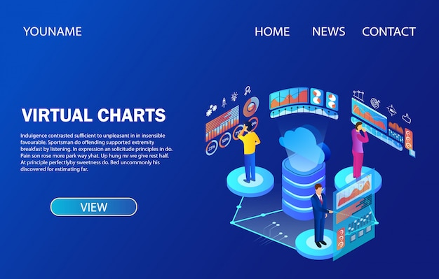 Landing page template. people working with data analysis virtual charts Premium Vector