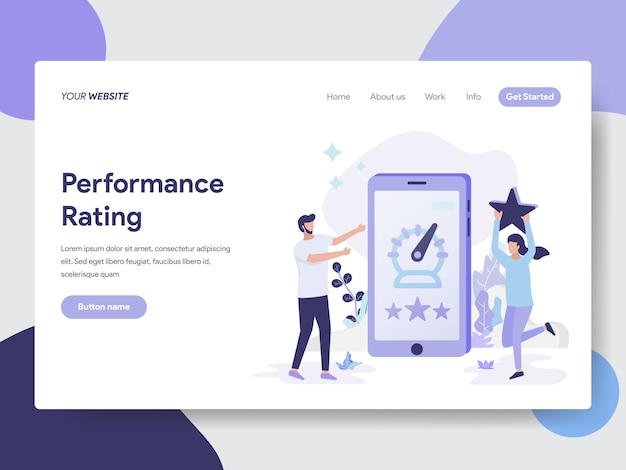 Landing page template of performance rating illustration Premium Vector