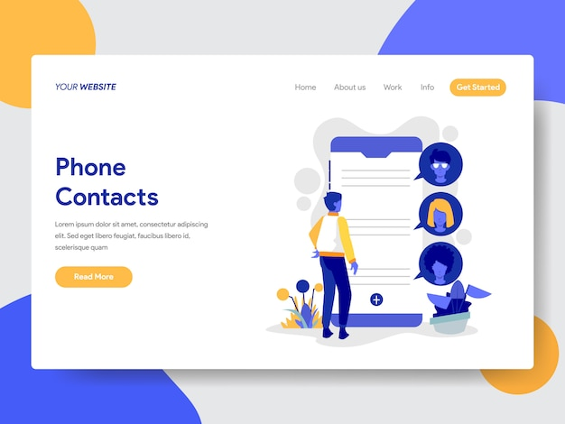 Landing page template of phone contacts illustration Premium Vector
