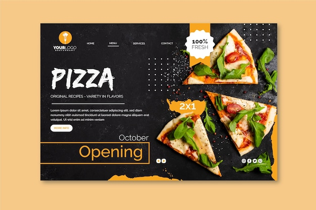 Landing page template for pizza restaurant Free Vector