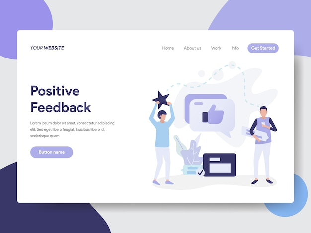 Landing page template of positive feedback illustration concept Premium Vector