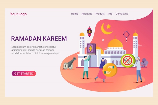 Landing page template ramadan kareem with small people Premium Vector