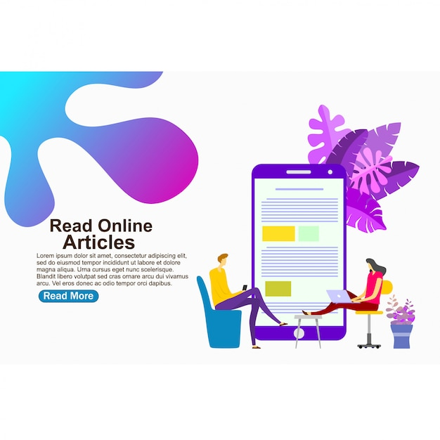 Landing page template read online articles Premium Vector