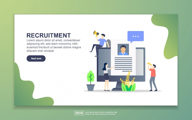 Landing page template of recruitment Premium Vector