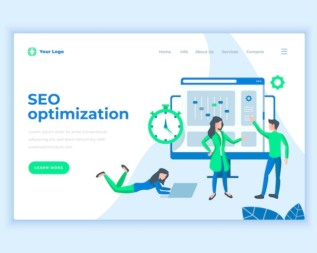 Landing page template seo optimization concept with office people. Premium Vector