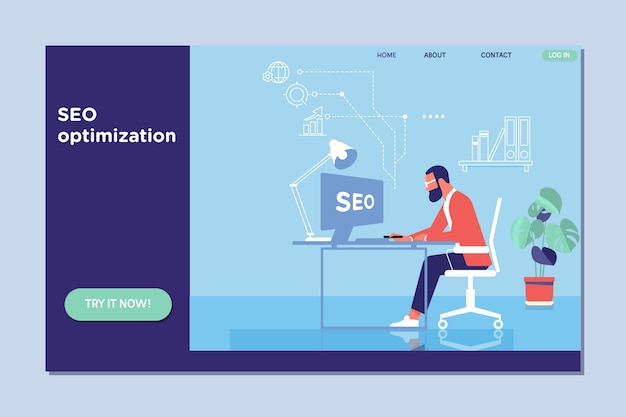 Landing page template of seo optimization for website Premium Vector