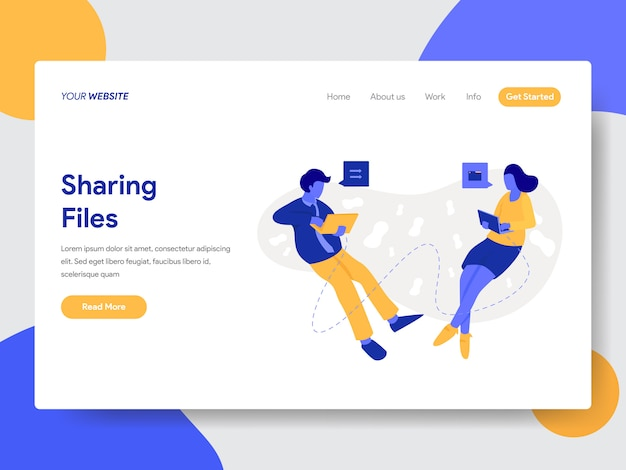 Landing page template of sharing files and documents illustration Premium Vector